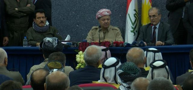 President Masoud Barzani [M] speaks to the people of Kirkuk on September 12, 2017 in Kirkuk. The Kurdista Regiom will hold an independence referendum on September 25 despite the opposition from the Iraqi government and neighboring countries including in the disputed province of Kirkuk. Photo: Rudaw video