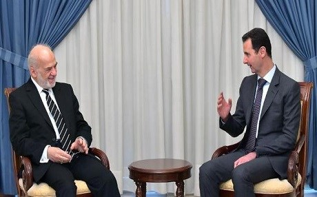 Iraqi Foreign Minister Ibrahim al-Jaafari meets with Syrian President Bashar al-Assad in Damascus in 2015. Photo: SANA