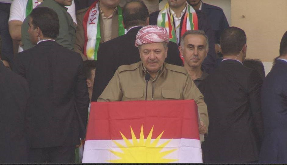 Kurdistan Region President Masoud Barzani addressing independence referenudm supporters during a rally at Duhok stadium. Photo: Rudaw
