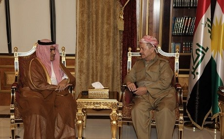 Saudi's Arab Gulf Affairs Minister Thamer al-Sabhan (L) in a meeting with Masoud Barzani, president of the Kurdistan Region in Erbil. Photo: KRP