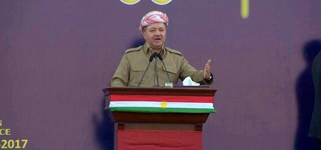 Kurdish Resident Masoud Barzani addresses a rally for independence of Kurdistan in Soran on September 19, 2017. Photo: Rudaw TV
