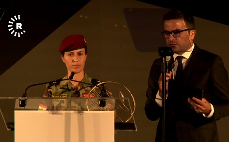 Lt. Kochar Saleh Haji receiving the Global Hope Coalition award. Photo: Rudaw video