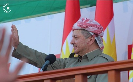 Kurdish President Masoud Barzani waves at a rally for independence in the Kurdistan Region's capital of Erbil on September 22, 2017. Photo: Rudaw.