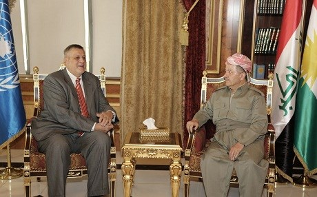 President Masoud Barzani met with the UN's Jan Kubis on Sunday. Photo: KRP