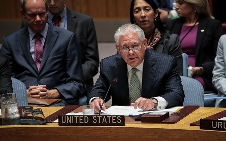 US Secretary of State Rex Tillerson speaks during a UN Security Council meeting on September 21, 2017 in New York City. Photo: Drew Angerer/Getty Images/AFP