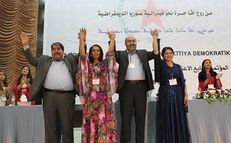 The PYD's outgoing and incoming co-chairs, left to right: Saleh Moslem, Ayshe Hiso, Shahoz Hesen, and Asya Abdullah. Photo: PYD
