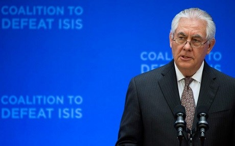 US Secretary of State Rex Tillerson addressing the Global Coalition to Defeat ISIS in March. Photo: AP