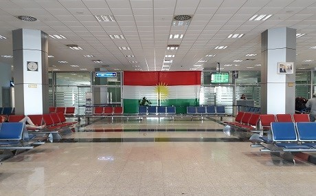 Empty Erbil airport after the flight ban came into effect Friday at 6pm. Photo: A.C. Robinson/Rudaw