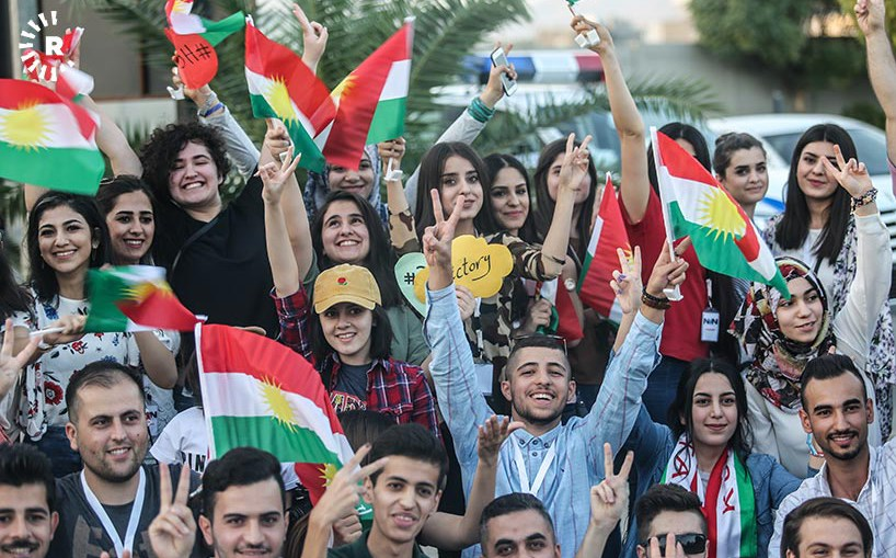 Kurdish youth staged a peaceful protest on Friday over Baghdad's measures against the Kurdistan Region following the referendum, including imposing a flight ban. Photo: Sartip Othman/Rudaw