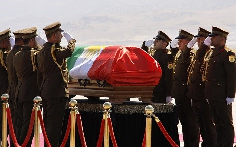 Talabani's coffin with Kurdistan flag 'insult' to Iraq, MP left funeral in protest
