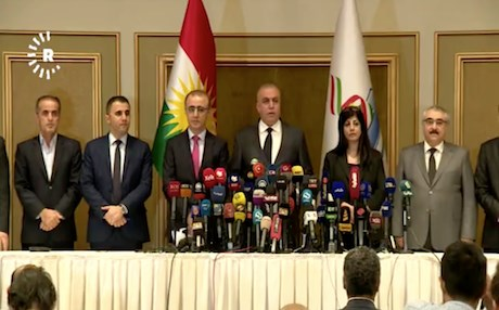 Members and head of the Kurdistan Region's High Electoral and Referendum Commission. Photo: Rudaw video