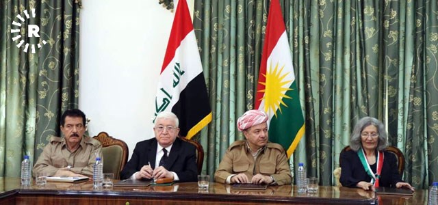 From left to right: Kurdistan Vice President Kosrat Rasul, Iraqi President Fuad Masum, Kurdistan President Masoud Barzani, and influential PUK politburo member Hero Ibrahim Ahmad. Photo: Rudaw TV