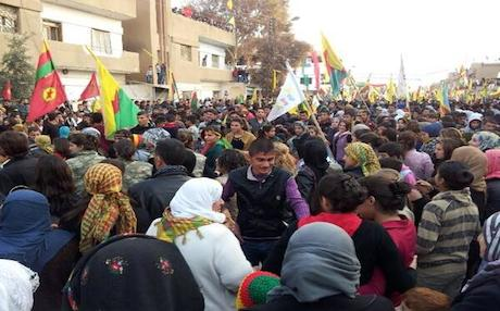 Facebook and Twitter accounts showed pictures of thousands of people in Rojava, celebrating the declaration of autonomy.
