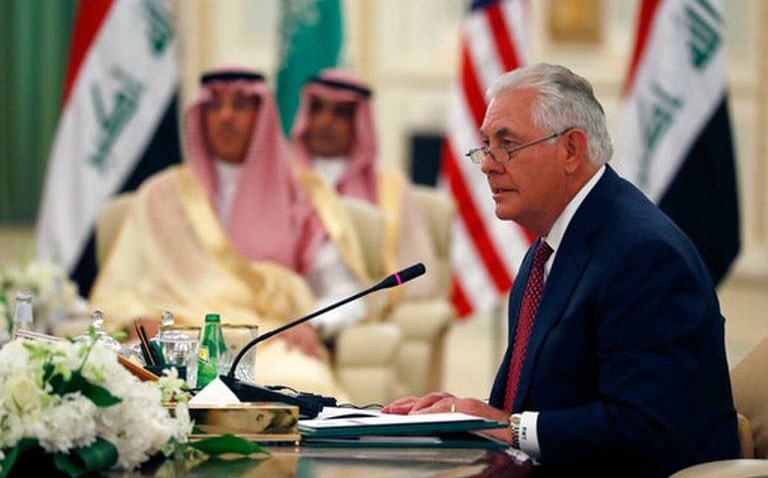 US Secretary of State Rex Tillerson speaks during a meeting of the Saudi-Iraqi Bilateral Coordination Council with Saudi King Salman and Iraqi Prime Minister Haider al-Abadi on Sunday. Photo: AP