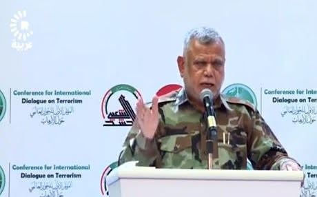Hadi al-Amiri, head of the Badr militia speaking at a conference on terrorism October 28, 2017 in Baghdad/ Photo: Rudaw
