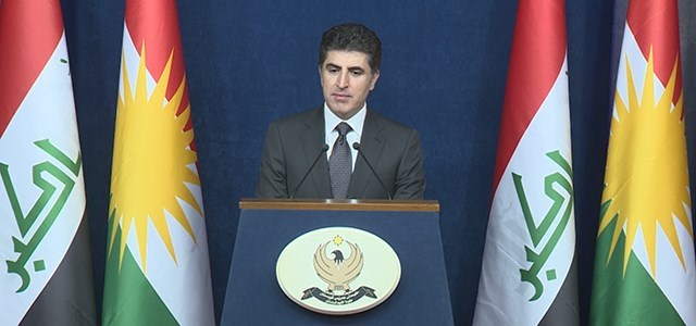 Prime Minister of the Kurdistan Regional Government (KRG) Nechirvan Barzani speaking to reporters following a cabinet meeting in Erbil on Monday, November 6, 2017. Photo: Rudaw