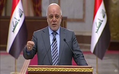 Iraqi Prime Minister Haider al-Abadi speaking at his weekly press conference. Photo: Iraqi PM Media Office