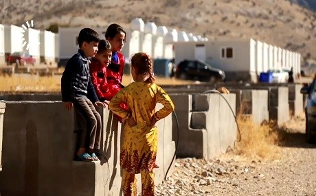 Children play at a displaced camp in the province of Sulaimani. The displaced people from the disputed areas, including from Kirkuk have sought shelter in the Kurdistan Region. Photo: Rudaw TV