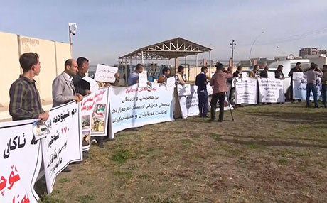Protesters from Tuz Khurmatu gathered at the UN compound in Erbil on Tuesday. Photo: Rudaw
