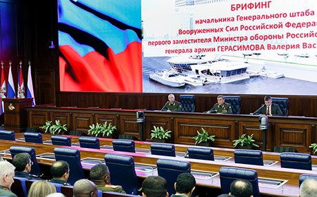Russian Army General Valery Gerasimov gives a briefing on Wednesday. Photo: Russia Ministry of Defence