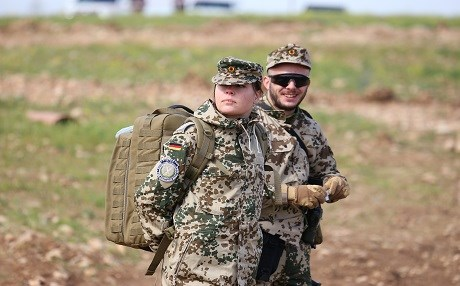 German trainers at a training site in Erbil in March, 2017. Germany started to train the Kurdish fighters since February 2015 as part of the US-led Global Coalition against the ISIS group. File photo: Rudaw/Farzin Hassan