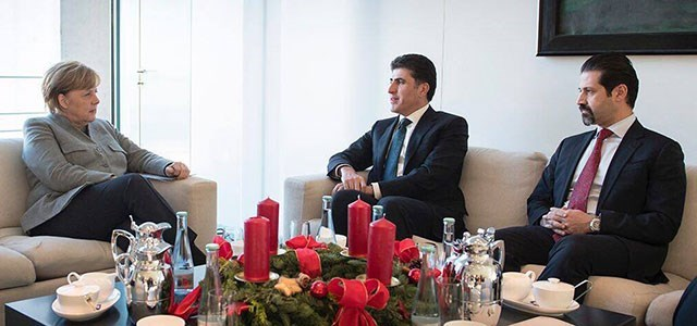 German Chancellor Angela Merkel [L], Kurdish Prime Minister Nechirvan Barzani [M] and his deputy Qubad Talabani [R] hold a meeting in Berlin on December 18, 2017. Photo: KRG