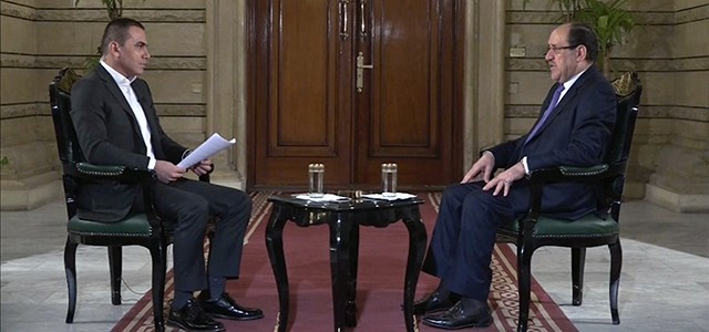 Iraqi VP Nouri al-Maliki (right) speaks with Ranj Sangawi, a Rudaw presenter, during an interview in Baghdad on Thursday. Photo: Rudaw