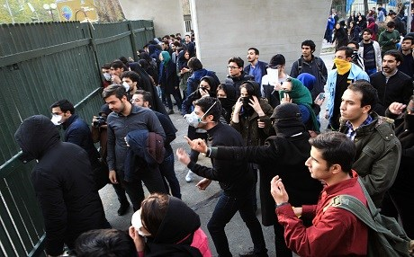 Iranian students protest at the University of Tehran during a demonstration driven by anger over economic problems, in the capital Tehran on December 30, 2017. Photo: AFP/STR