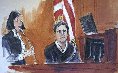 Court sketch of Hakan Atilla as he takes the stand in front of a Manhattan jury. Atilla was convicted of four conspiracy counts, including conspiracy to defraud the United States. Photo: AP / Elizabeth Williams