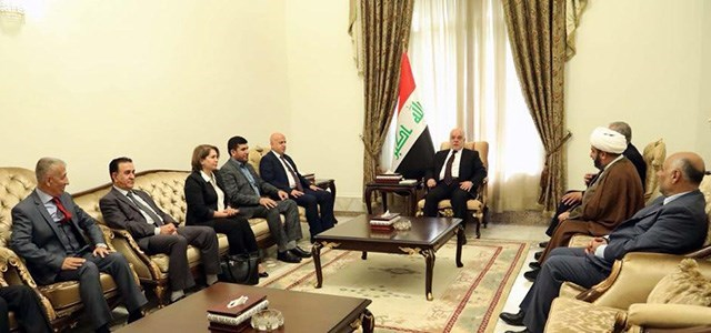 Iraqi Prime Minister Haider al-Abadi meets with a Kurdish delegation formed by opposition parties of the Kurdistan Region in Baghdad on January 4, 2018. Photo: Iraqi PM office
