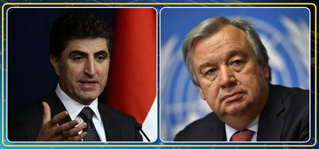 Kurdish Prime Minister Nechirvan Barzani [L] has received an official letter from the UN Secretary-General Antonio Guterres regarding talks between Erbil and Baghdad after the Kurdish vote on independence in September. Photo:AFP
