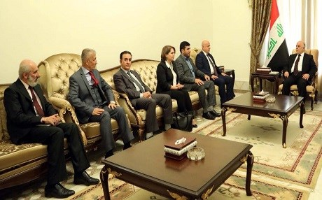 Iraqi Prime Minister Haider al-Abadi receives a delegation of Kurdish opposition parties in Baghdad on January 4, 2018. Photo: Iraqi PM office