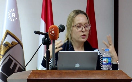 Head of EU Liaison Office in Erbil Clarisse Pasztory speaks at a seminar with students at the International University of Erbil on January 11.
