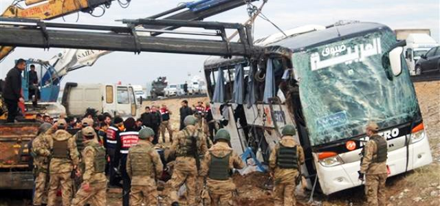 A car accident that killed 9, and injured 28  took place on the main road between Turkey's southeastern province of Turkey to the Kurdistan Region on Friday January 12, 2018.  Photo: DHA