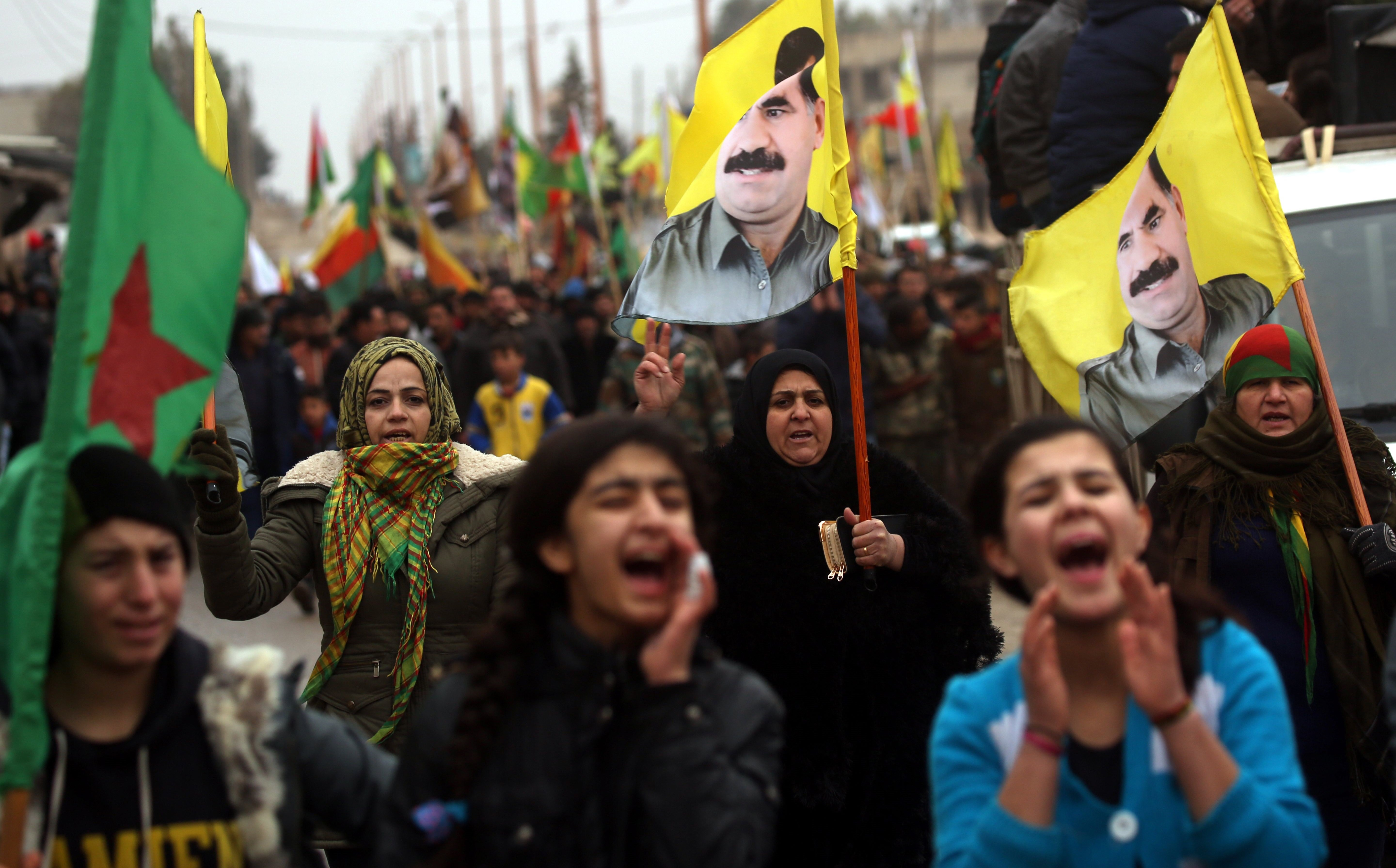 Kurds in the Rojava town of Jawadiyah march in support of Afrin on Thursday. Photo: Delil Souleiman/AFP