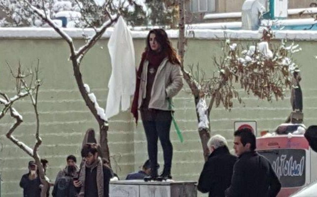 Photo shared on social media of Narges Hosseini protesting the mandatory hijab. Photo: CHRI
