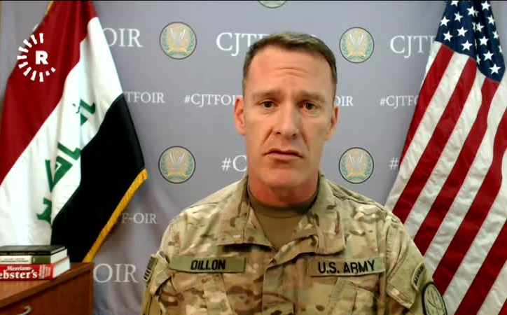 Coalition spokesperson Col. Ryan Dillon speaks to Rudaw TV on Thursday.