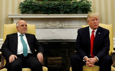 Iraqi Prime Minister Haider al-Abadi [L] and US President Donald Trump met on March 20, 2017 in the White House. File photo: AP