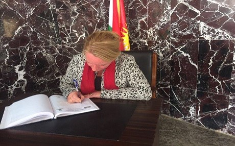 Janet Alberda, the consul general for the Netherlands in Erbil, visits the Halabja Monument for the victims of genocide in 2017. Photo: Netherlands CG