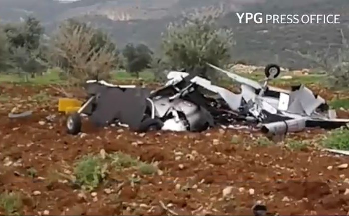 Alleged wreckage of a Turkish drone shot down in Afrin. Photo: Still from YPG video
