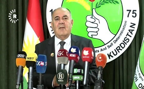 Spokesperson of the Patriotic Union of Kurdistan (PUK) Saadi Ahmed Pira at a press conference in 2017. File photo: Rudaw TV
