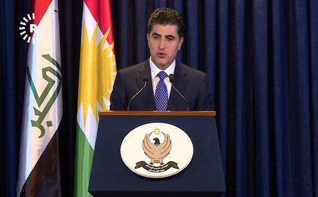 KRG Prime Minister Nechirvan Barzani delivers remarks at a press conference in Erbil on March 13, 2018. Photo: Rudaw TV