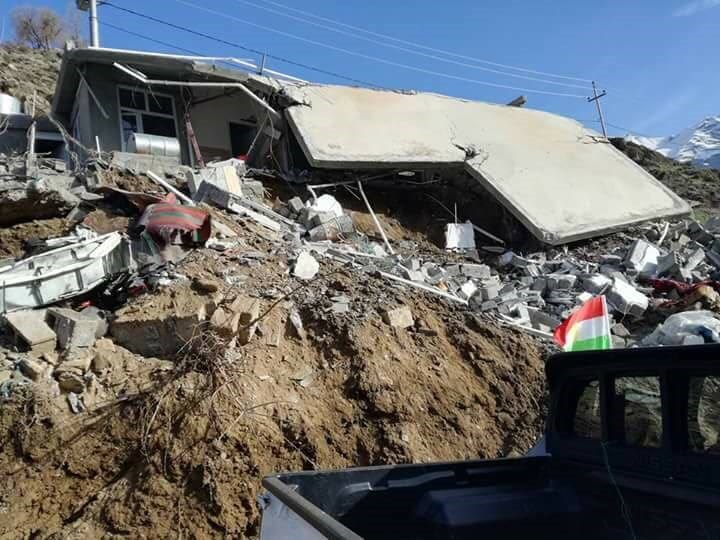 The aftermath of Turkish airstrikes on a house at Sarkan village of Choman district, about 95 km northeast of Erbil which resulted in the killing of four people who had gone to the area for a picnic to celebrate Newroz. Photo: Rudaw