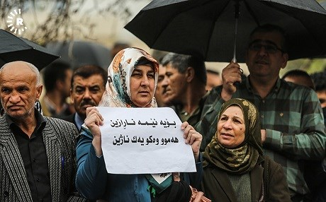 A striking civil servant in Sulaimani protests inequality earlier this week. Photo: Sartip Othman/Rudaw