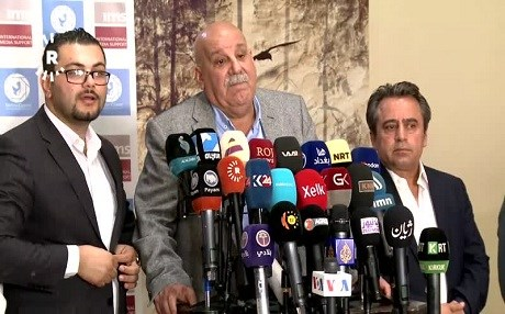 Speaking at a press conference in Erbil on April 5, 2018, KRG Ministry of Peshmerga Secretary-General says Peshmerga and Iraq's defense ministry have not reached an agreement on re-deploying Kurdish forces to disputed areas. Photo: Rudaw TV