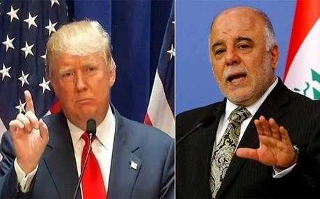 US President Donald Trump and Iraqi Prime Minister Haider al-Abadi. Photos: Governments of the US and Iraq