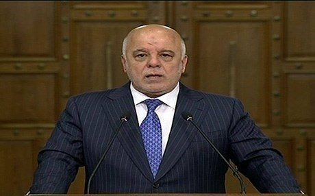 Incumbent Iraqi prime minister Haider al-Abadi gives televised speech on May 14, 2018. Photo: Rudaw