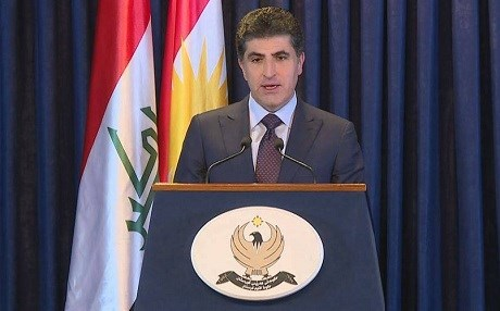 Nechirvan Barzani speaks at a press conference in Erbil on May 16, 2018. Photo: Rudaw TV