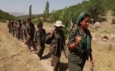A screenshot of female PKK fighters from the movie trailer for 'Bakur.'