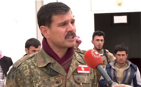 Haider Shasho speaks to reporters in Shingal in March 2017. Photo: Rudaw TV